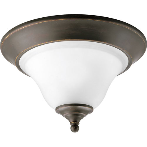 Progress Lighting Trinity Antique Bronze One-Light Flush Mount with Etched Glass Bowl