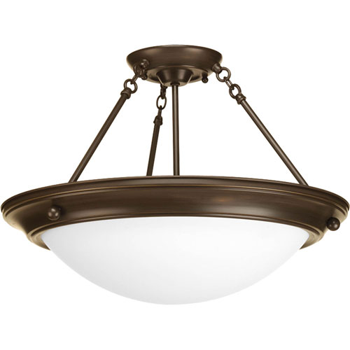 Progress Lighting Eclipse Antique Bronze Three-Light Semi-Flush Mount with Satin White Glass Bowl