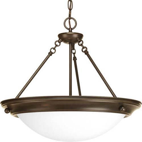 Eclipse Antique Bronze Three-Light Bowl Pendant with Satin White Glass Bowl