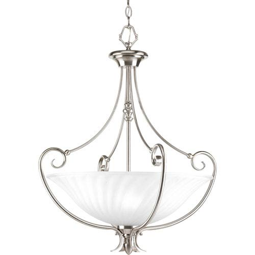 Progress Lighting Kensington Brushed Nickel Three-Light Lantern Pendant with Swirled Etched Glass Bowl