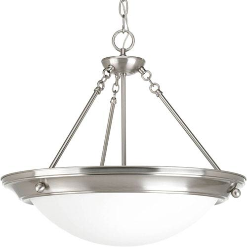 Progress Lighting Eclipse Brushed Nickel Three-Light Bowl Pendant with Satin White Glass Bowl