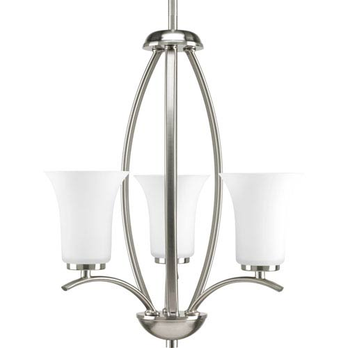 Progress Lighting Joy Brushed Nickel Three-Light Hall and Foyer Pendant Pendant with Etched Glass Shade