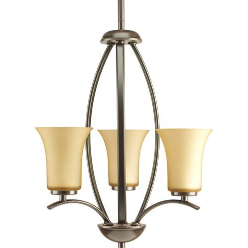 Progress Lighting Joy Antique Bronze Three-Light Hall and Foyer Pendant with Etched Light Umber Glass Shades