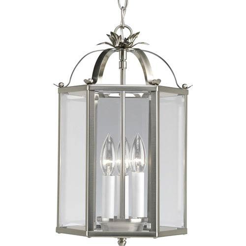 Progress Lighting Flat Glass Brushed Nickel Three-Light Lantern Pendant with Clear Flat Glass