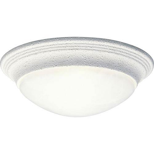 Progress Lighting White One-Light Flush Mount with Alabaster Glass