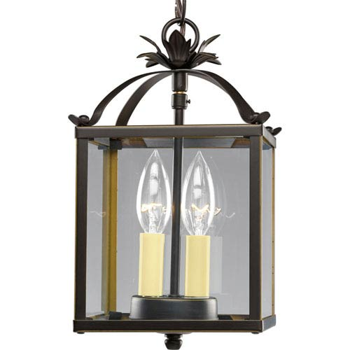 Flat Glass Antique Bronze Two-Light Lantern Pendant with Clear Flat Glass
