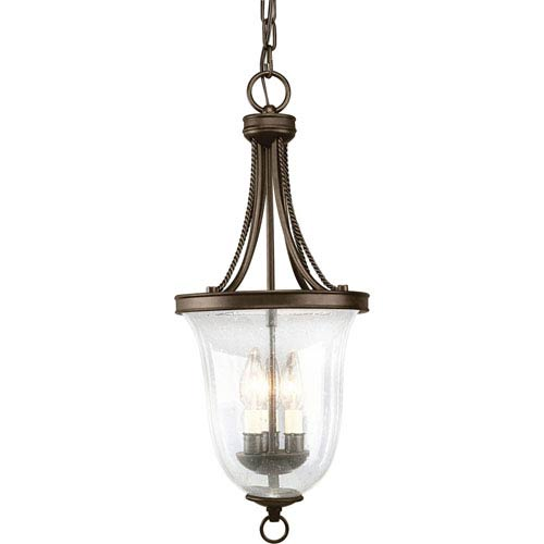 Progress Lighting Seeded Glass Antique Bronze Three-Light Lantern Pendant with Clear Seeded Glass