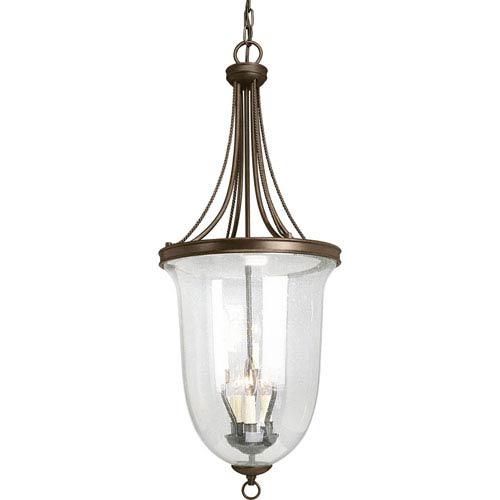 Seeded Glass Antique Bronze Six-Light Lantern Pendant with Clear Seeded Glass