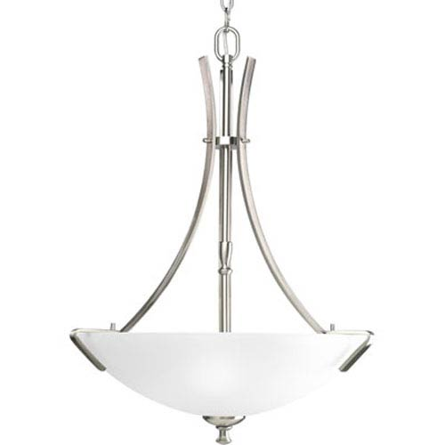 Progress Lighting Wisten Brushed Nickel Three Light Arching Rectangular Arms Bowl Pendant With Etched Gl
