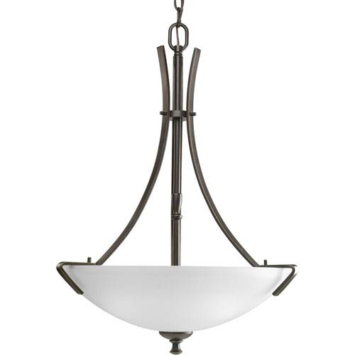 Progress Lighting Wisten Antique Bronze Three-Light Arching Rectangular Arms Bowl Pendant with Etched Glass