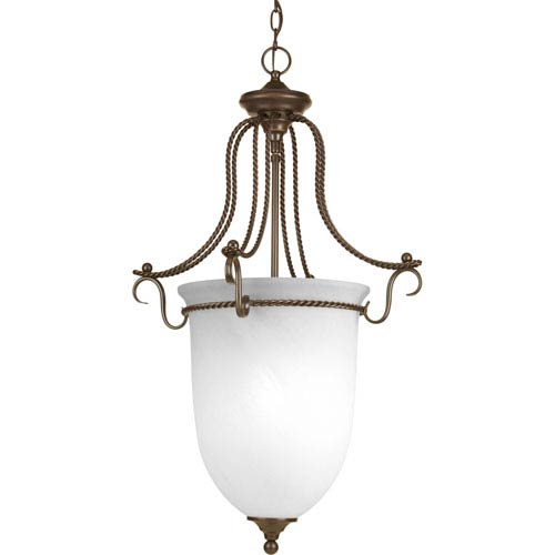 Progress Lighting Avalon Antique Bronze Three-Light Hall and Foyer Pendant Pendant with Alabaster Glass