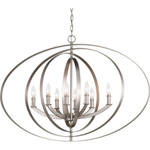 P3791-126 Equino Burnished Silver Eight-Light 39-Inch Foyer Pendant