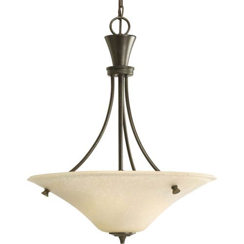 Cantata Forged Bronze Three Light Bowl Pendant With Seeded Topaz Gl Clearance