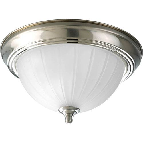 Melon Glass Brushed Nickel One-Light Flush Mount with Etched Ribbed Glass Bowl