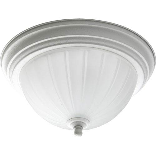 Progress Lighting Melon Glass White One-Light Flush Mount with Etched Ribbed Glass Bowl