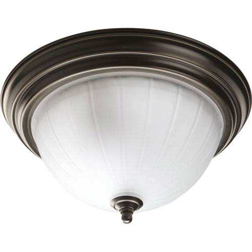 Progress Lighting Melon Glass Antique Bronze Two-Light Flush Mount with Etched Ribbed Glass Bowl