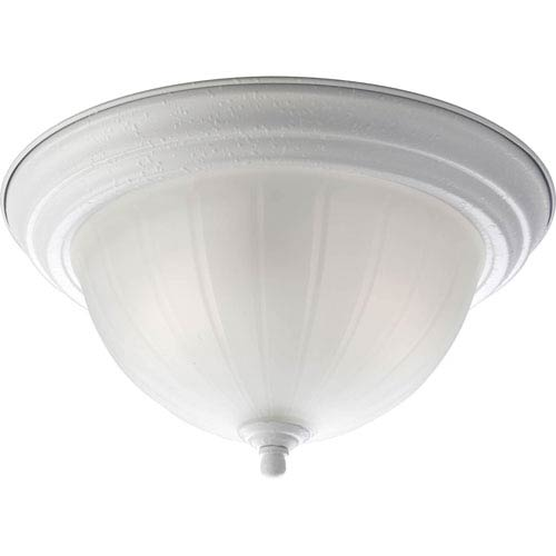 Progress Lighting White Two-Light Flush Mount with Etched Ribbed Glass Bowl