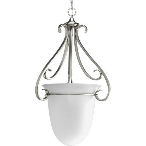 Torino Brushed Nickel Three-Light Hall and Foyer Pendant Pendant with Etched Glass Bowl