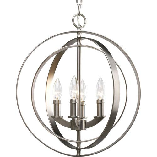 Equinox Burnished Silver Four-Light Lantern Pendant with Matching Candle Sleeves