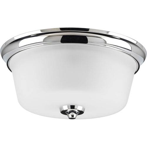 Progress Lighting Lahara Polished Chrome Two-Light Flush Mount with Etched Glass