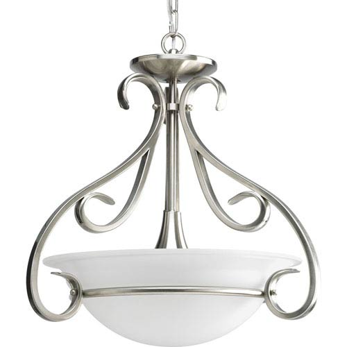 Progress Lighting Torino Brushed Nickel Three-Light 18.5-Inch Bowl Pendant with Etched Glass Bowl