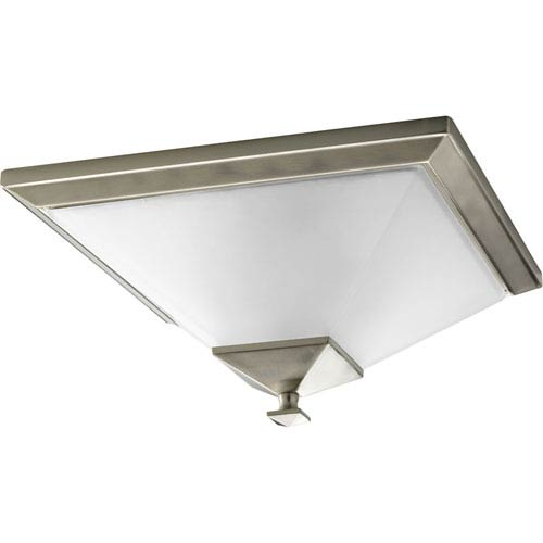 Progress Lighting North Park Brushed Nickel Two-Light Flush Mount with Etched Glass