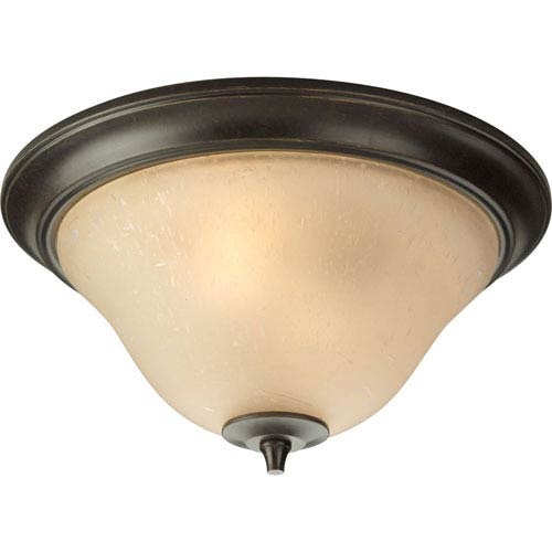 Progress Lighting Cantata Forged Bronze Two-Light Flush Mount with Seeded Topaz Glass