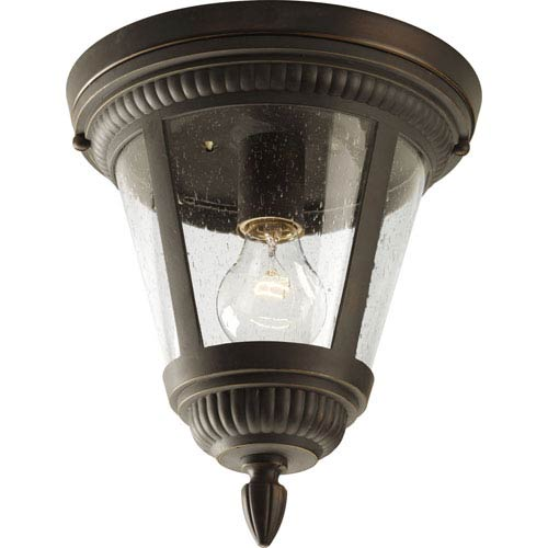 Progress Lighting Westport Antique Bronze One-Light Outdoor Ceiling Flush Mount with Clear Seeded Glass