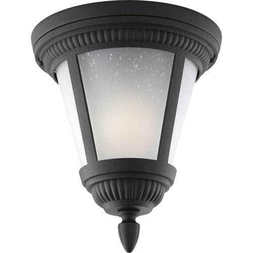 Westport Black One-Light Outdoor with Etched Seeded Glass