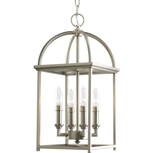 Progress Lighting Piedmont Burnished Silver Four-Light Lantern Pendant with Matching Candle Sleeves