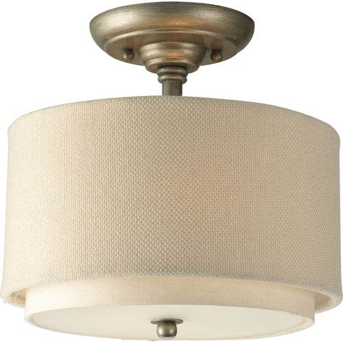 Progress Lighting Ashbury Silver Ridge Two-Light Semi-Flush Mount with Toasted Linen Shade