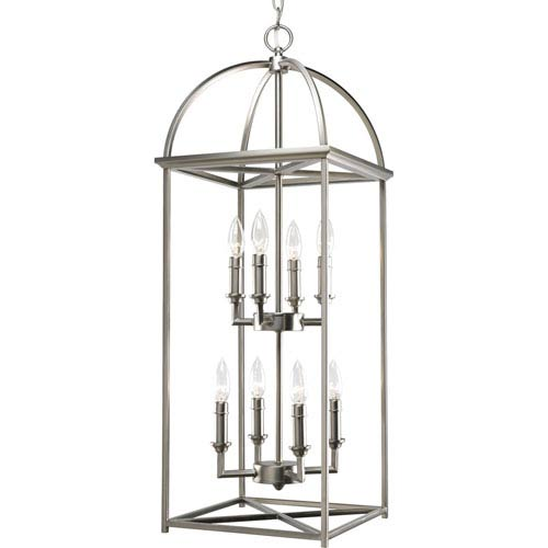 Progress Lighting Piedmont Burnished Silver Eight-Light Lantern Pendant with Matching Candle Sleeves