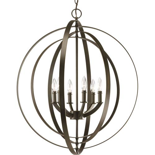 Progress Lighting P3889-20:  Equinox Antique Bronze Six-Light Pendant
