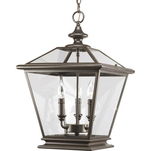 Crestwood Antique Bronze Three-Light Lantern Pendant with Clear Glass
