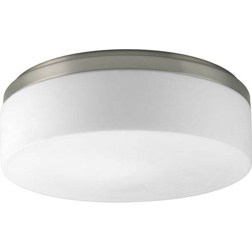Progress Lighting Maier Brushed Nickel Two-Light Flush Mount with Opal Etched Acrylic Bowl