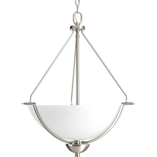 Progress Lighting Bravo Brushed Nickel Three-Light Bowl Pendant with Etched Glass Bowl