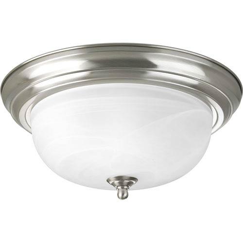 Brushed Nickel Two-Light Incandescent Flush Mount with Alabaster Glass