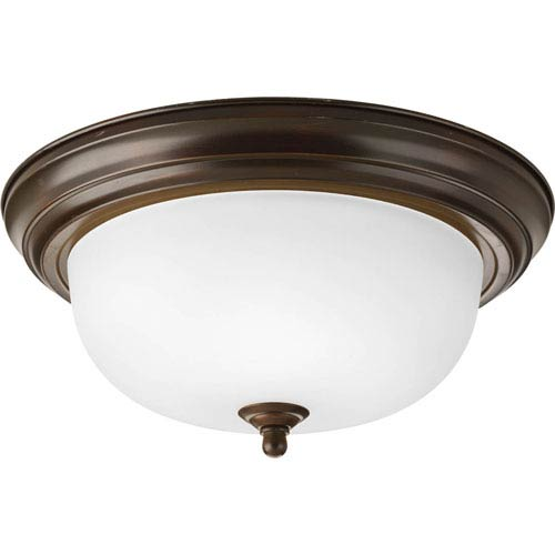 Progress Lighting Antique Bronze Two-Light Flush Mount with Dome Shaped Glass