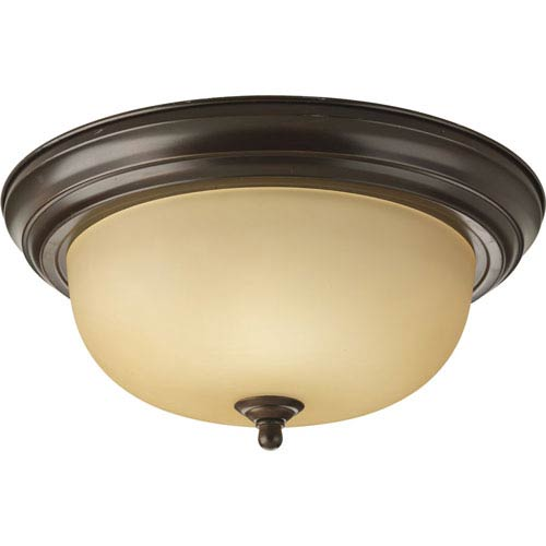 Progress Lighting Antique Bronze Two-Light Incandescent Flush Mount with Etched Light Topaz Glass