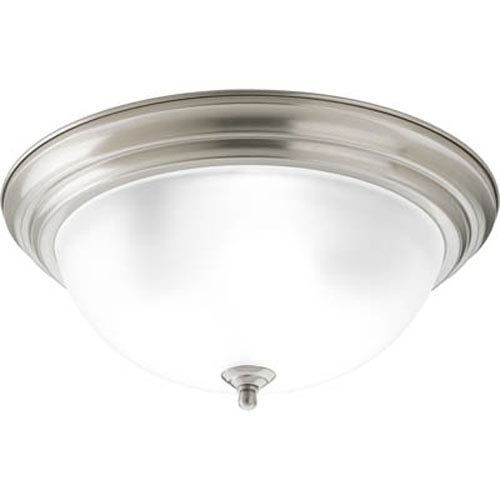 Progress Lighting Brushed Nickel Three-Light Dome Glass Flush Mount