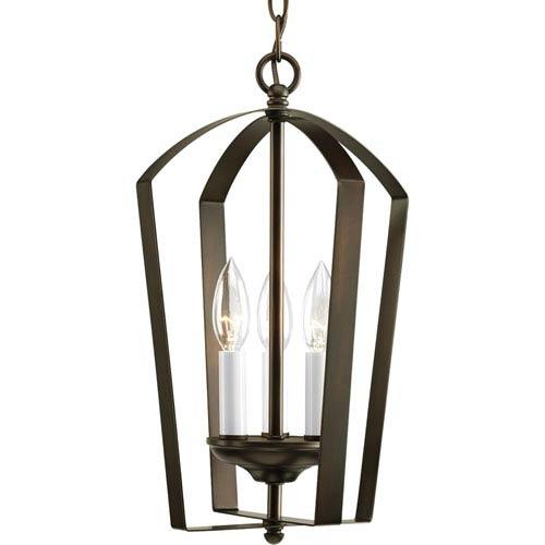 Progress Lighting Gather Antique Bronze Three-Light Lantern Pendant with White Finish Candle Sleeves