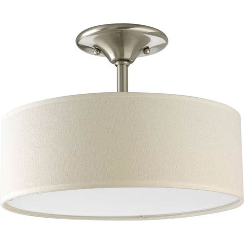 Inspire Brushed Nickel Two-Light Semi-Flush Mount with Beige Linen Shade