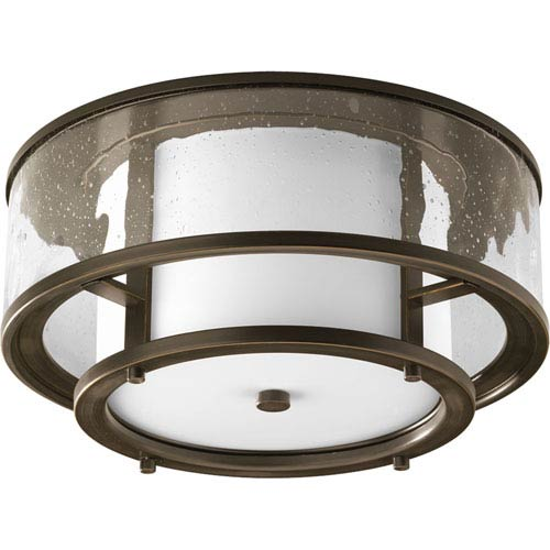 Bay Court Antique Bronze Two-Light Flush Mount with Distressed Clear Glass Cylinder