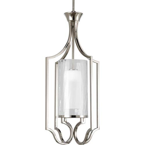 Progress Lighting Caress Polished Nickel One-Light 30-Inch Lantern Pendant with Glass Diffuser