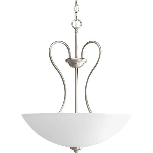 Progress Lighting Heart Brushed Nickel Three-Light Bowl Pendant with Etched Glass Bowl