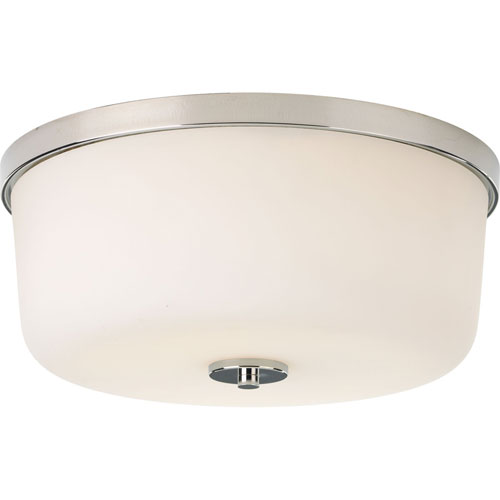 Flush Mount Polished Nickel Two-Light Flush Mount with Etched White Glass Bowl