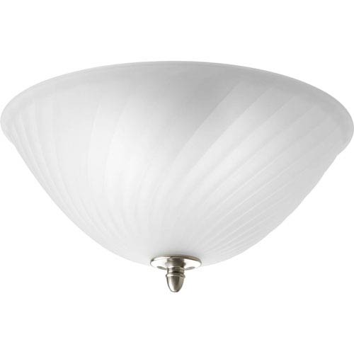 Progress Lighting Kensington Brushed Nickel Two-Light Semi-Flush Mount with Swirled Etched Glass Bowl