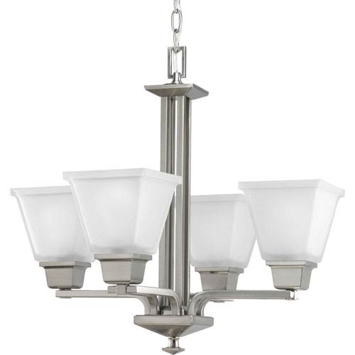 Progress Lighting North Park Brushed Nickel Four-Light Chandelier with Etched Glass