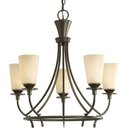 Progress Lighting Cantata Forged Bronze Five-Light Chandelier with Seeded Topaz Glass