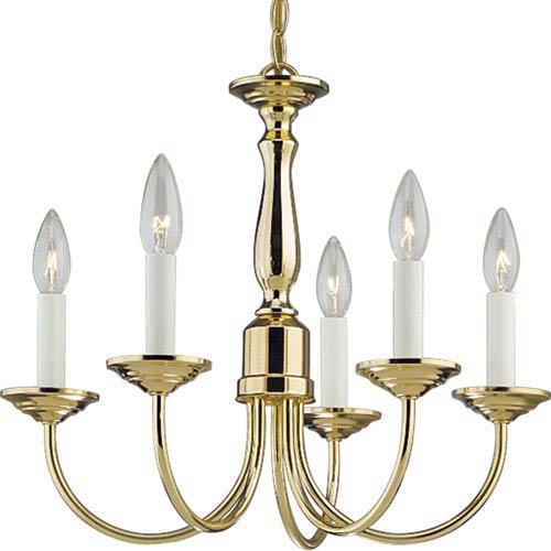 P4009-10:  Polished Brass Five-Light Chandelier